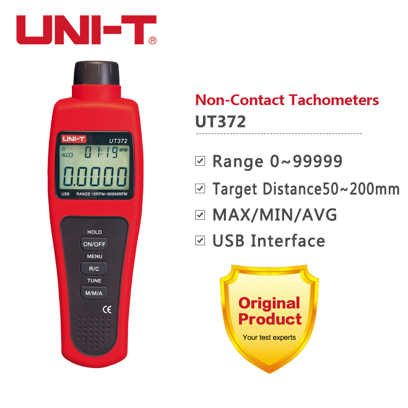 UNI-T UT372 tachymètres numériques sans Contact faire pivoter le compteur de mesure de vitesse 10-99999 tr/min Transmission de données USB