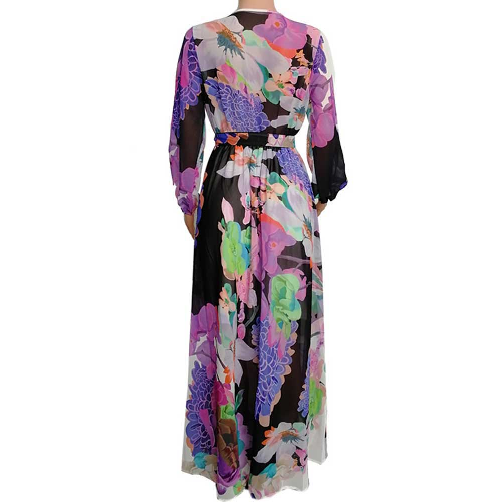 New Fashion Women Floral Chiffon Dress Sexy Deep V neck Long Sleeve Hollow Out Maxi Dress Elagant Vintage Party Femme Vestidos in Dresses from Women 39 s Clothing