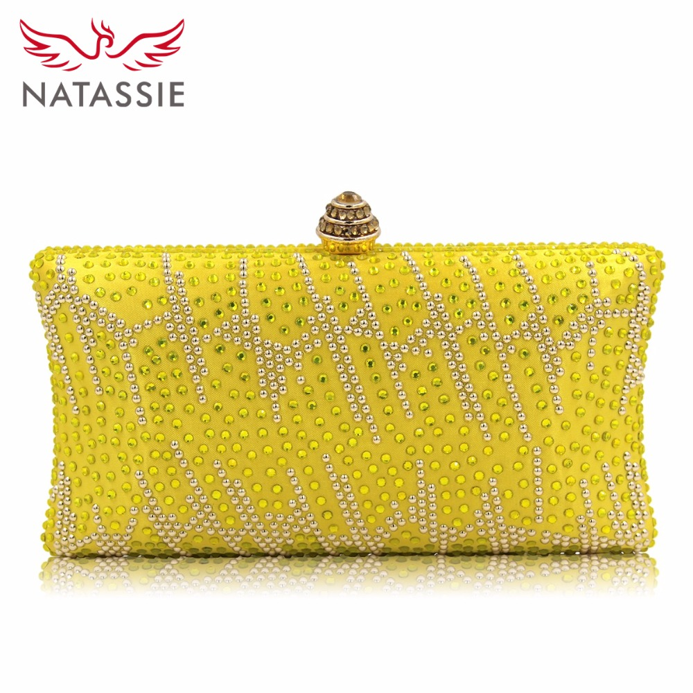 Natassie New Diamond Women Clutches Ladies Evening Bags Girl Party Wedding Purse Noble Royal Blue Clutch Bag With Chain