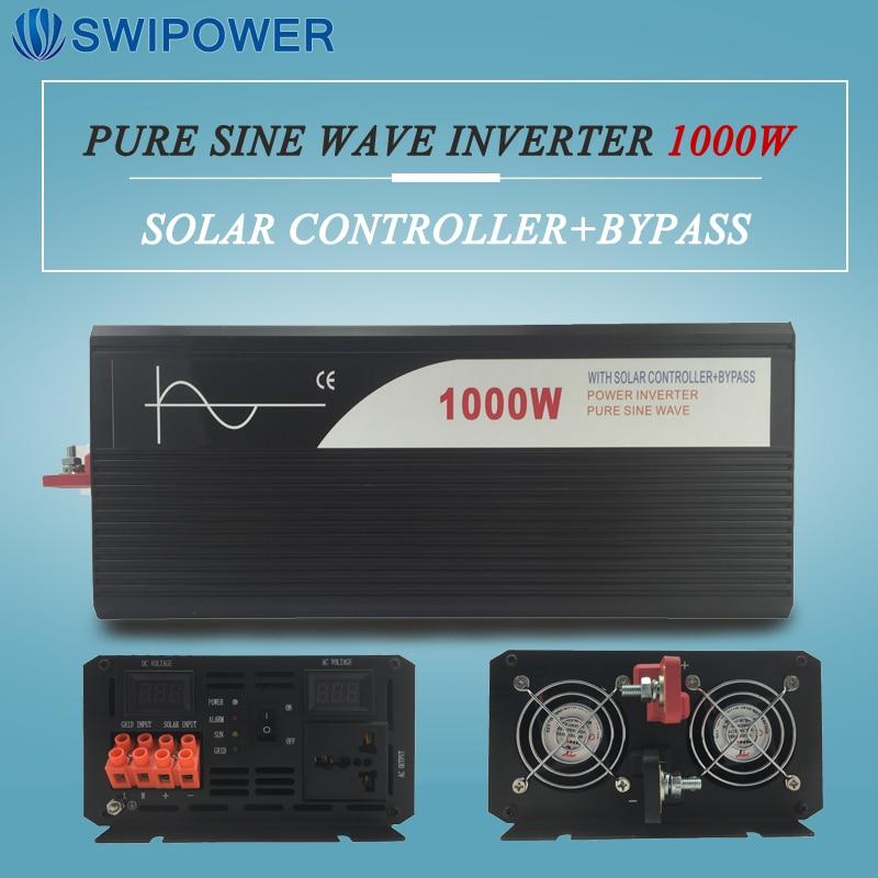 pure sine wave solar power inverter 1000w 12V/24V DC to AC 120V/220V with solar controller with bypass 2000w pure sine wave solar power inverter dc 12v 24v 48v to ac 110v 220v