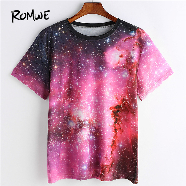 bbed51cbf970 ROMWE Starry Space Print Stranger Things T Shirt Women Round Neck ...