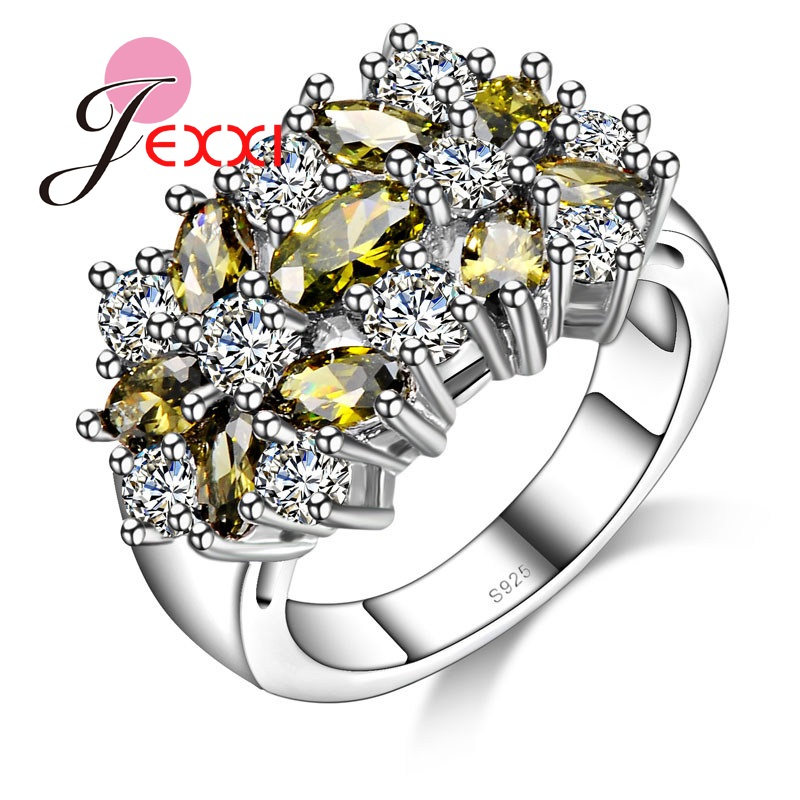 JEXXI Retro 925 Sterling Silver Ring For Wome Party Jewelry