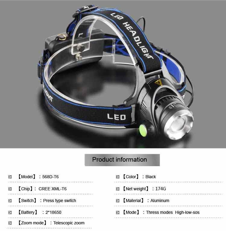 LED far 3800LM far T6 18650 kafa lambaları farlar + Q5 Mini LED el feneri 2000lm zumlanabilir Torch taktik z82