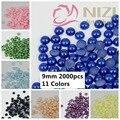 Big Venda Imitação de Pérolas 2000 pcs 9mm Artesanato ABS Flatback Meia Volta Pérolas Scrapbooking Decoração Beads #25-#35