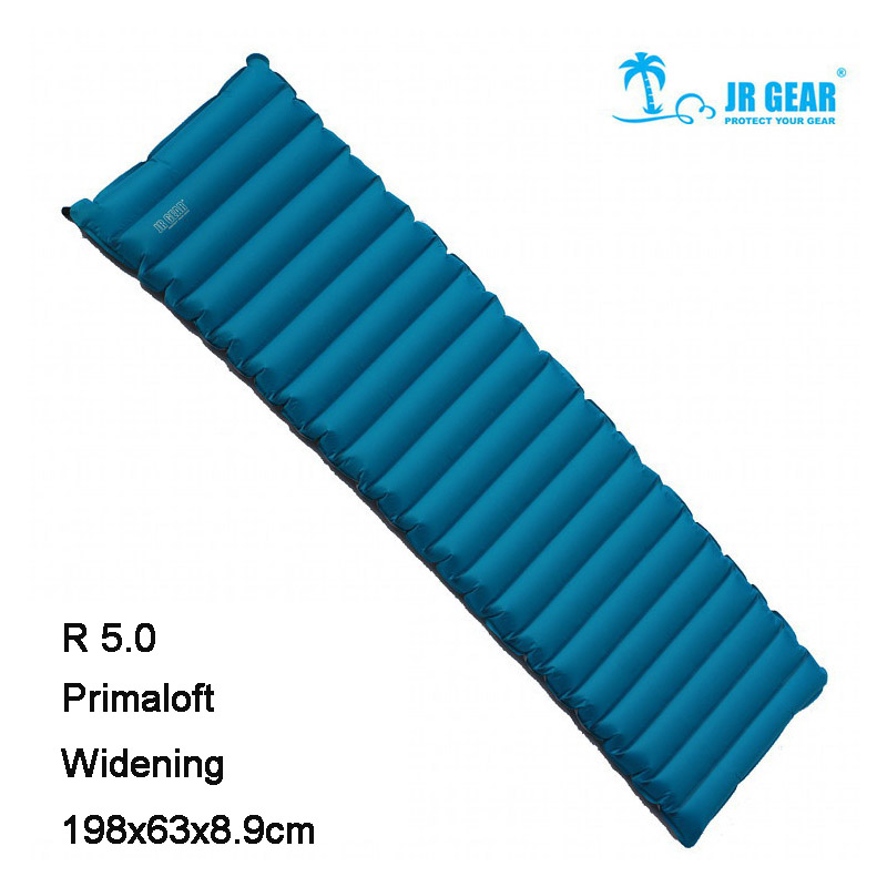 JR Gear Widening & Lengthening Single PRIMALOFT R5.0 198x63x8.9cm Thermal Resistance Waterproof Cushion Sleeping Pad Air Bed single sided blue ccs foam pad by presta