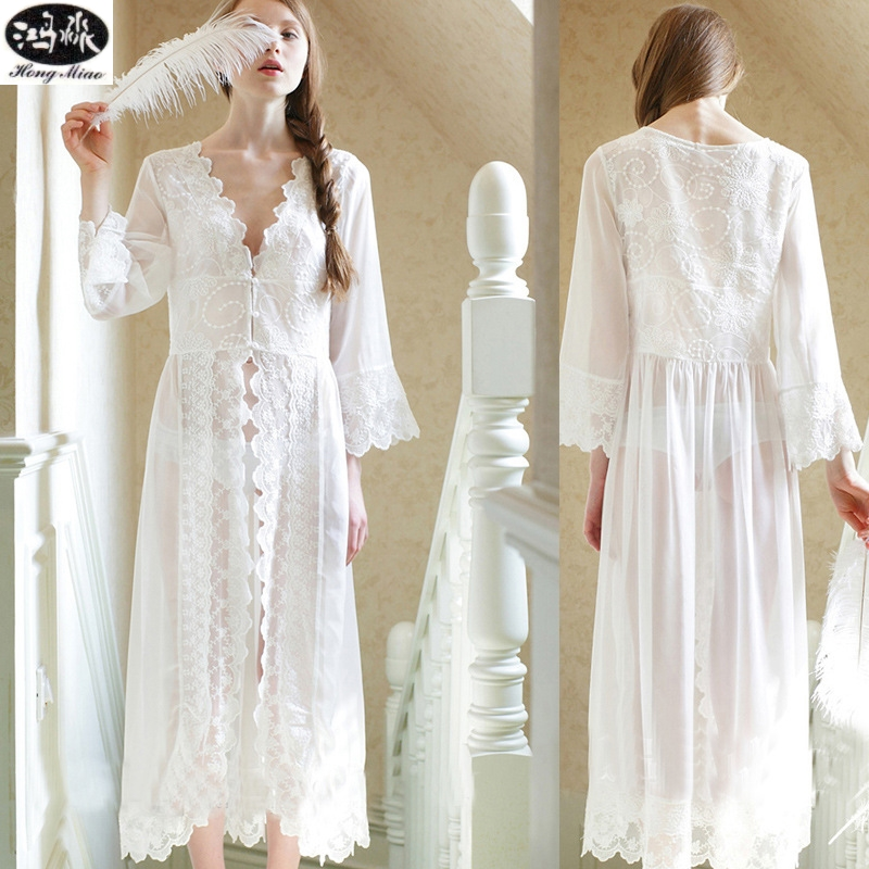 New Summer Dress Style White Lace Dress Palace Exquisite Beauty Sexy Nightdress Long White Lace Nightgown Suitable For All Women