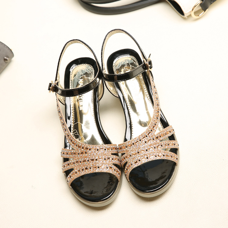 12016 new large size fish head women sandals 35-43 square with rhinestones fashion woman summer shoes