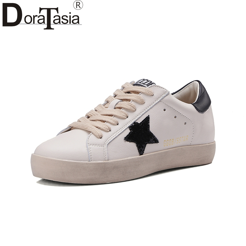 Doratasia 2018 Fashion Vulcanized Brand Sneaker Lace Up Spring Summer Women Shoes Genuine Leather White Shoes Woman Size 35-39