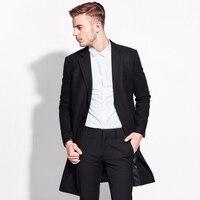 Бренд 50% шерсть черные деловые костюмы блейзеры брендовая одежда костюм куртки однобортный костюм пиджак мужской Тонкий Блейзер формальны
