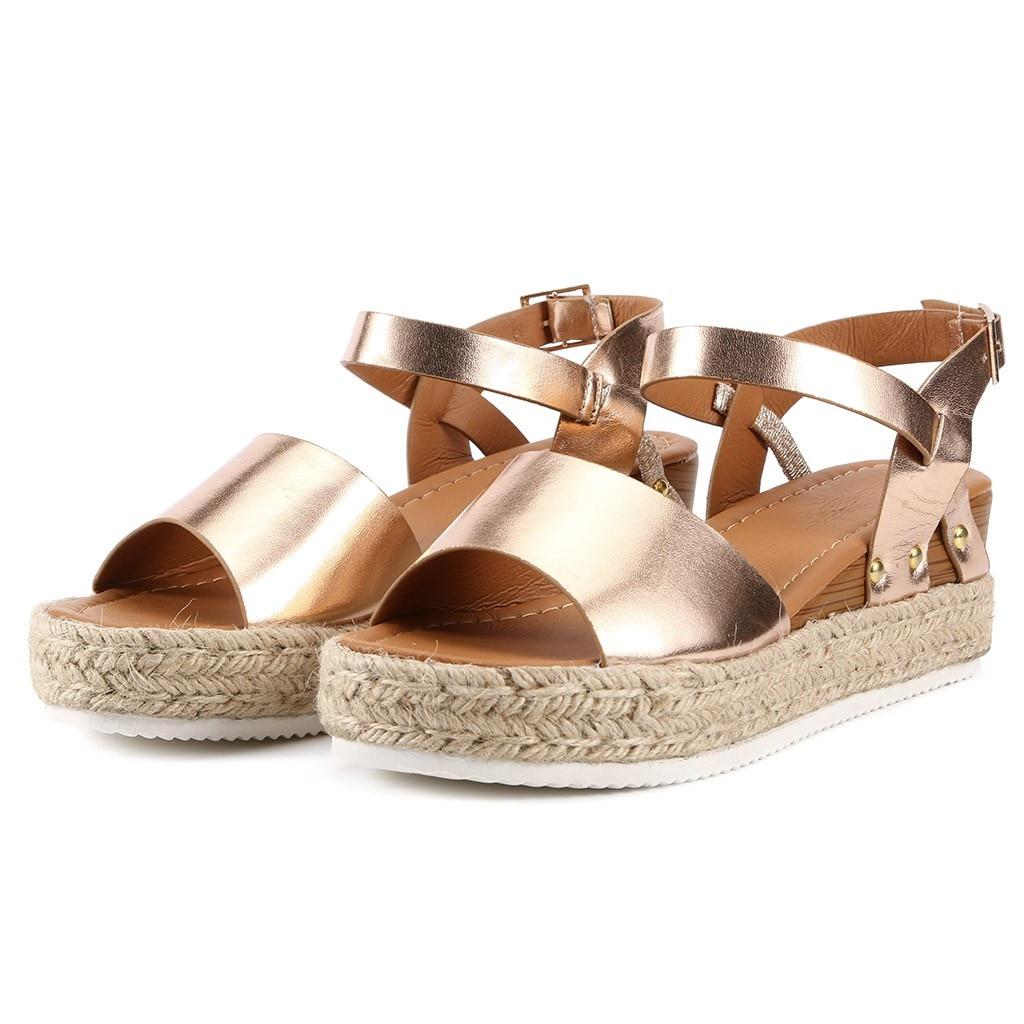 SAGACE Fashion Sandals Buckle-Strap Wedges Platform Wind-Wedge-Heel Peep-Toe Summer Women