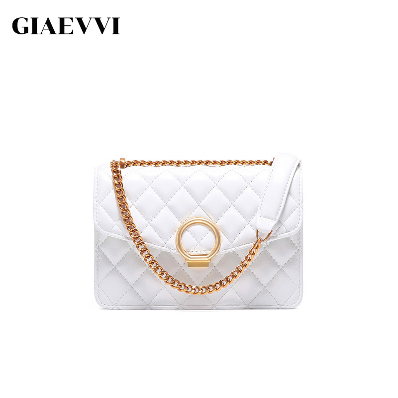 GIAEVVI Women Leather Handbag Small Flap Clutch Genuine Leather Shoulder Bag Diamond Lattice For Grils Chain Crossbody Bags new style diamond lattice chain small bag top grade sheepskin shoulder bags mini women bag genuine leather luxury brand bag