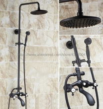 Black Oil Rubbed Brass Shower Set Faucet Wall Mounted 8 Rain Shower Head Faucet Tub Mixer Tap Hand Shower Nhg115