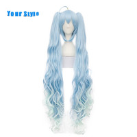 Your Style Long Wavy Two Ponytails Womens Anime Cosplay Hair Wigs With Clips Party Ombre Light