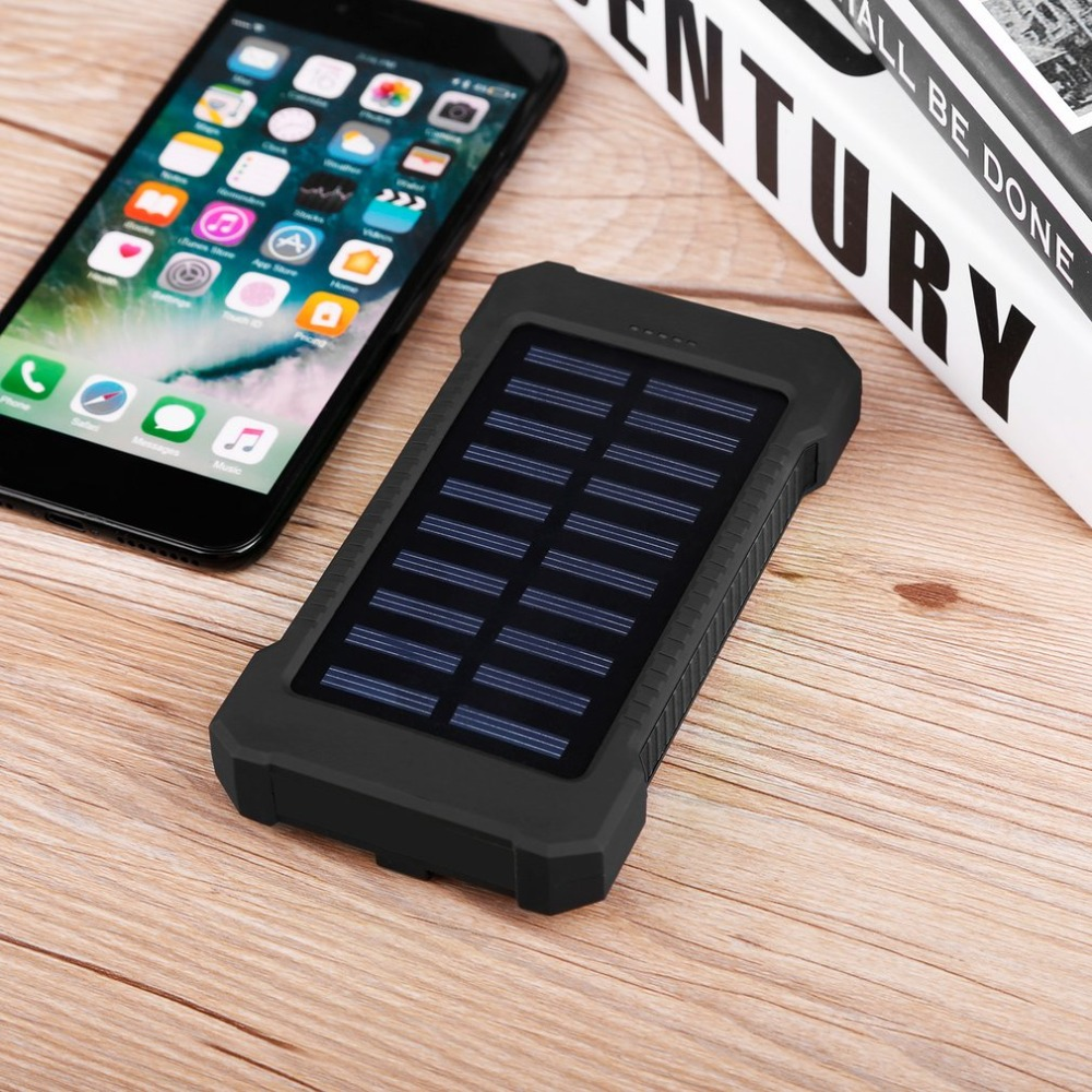 Solar Power Bank 20000mAh Waterproof Durable Portable Charger LED Powerbank Dual USB External Battery for Outdoor Emergency