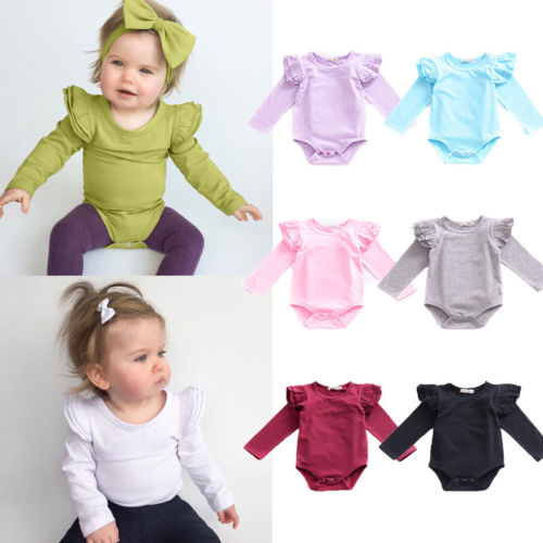 Infant Baby Girls Solid Ruffles Cotton Romper Long Sleeve Outfits Jumpsuit Clothes in Bodysuits from Mother Kids