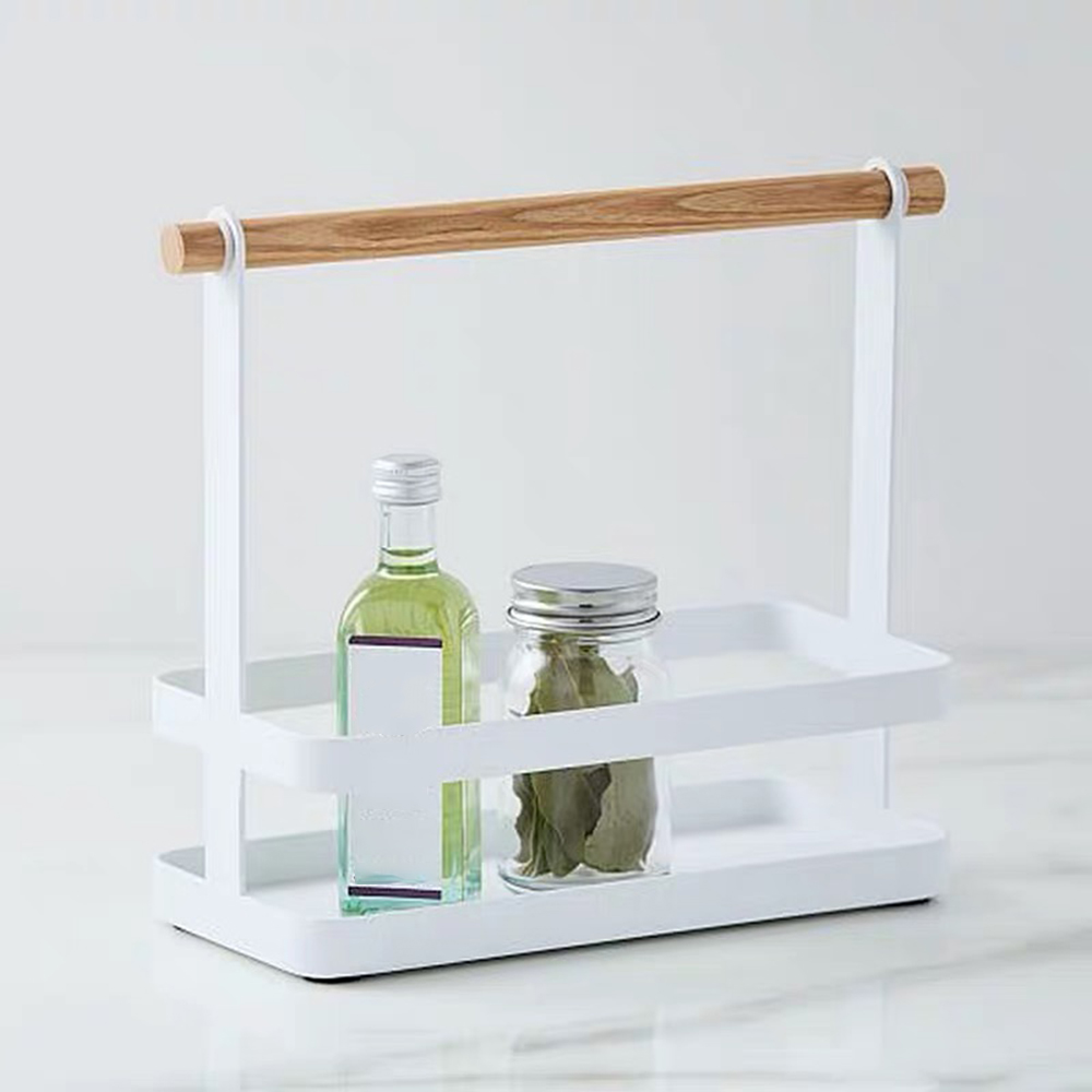 Portable Spice Rack Food Kitchen Cabinet Storage Organizer Kitchen Goods Storage Organizer Shelf with Wood Handle for kitchen