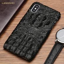 natural leather phone Case for Apple iPhone x 12 Mini 12 Pro Max 11 Pro Max xs xr xs max se 2020 5 7 6 6s 8 plus crocodile Grain