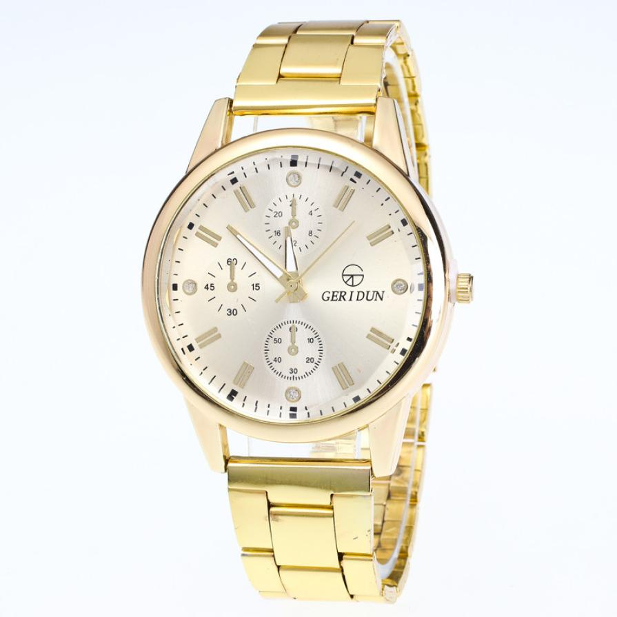 2016 New Mens Watch Luxury Brand Top Quality Gold Watches Diamond Dial Gold Steel Analog Quartz Wrist Watch Casual Clock Gift sinobi high quality watches mens leather quartz watch luxury brands males rose gold steel casual wristwatch gents clock hours