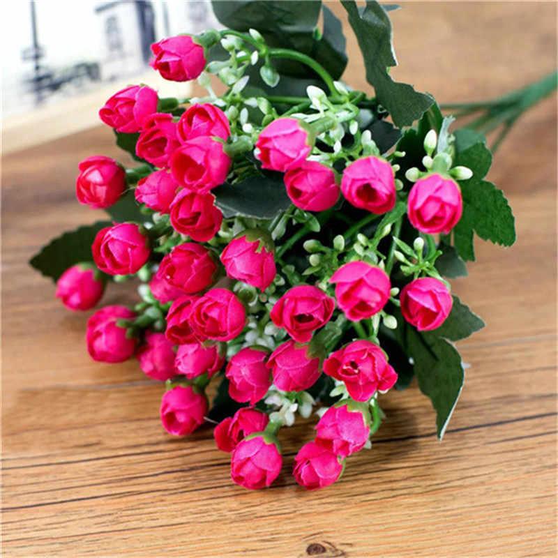Baru 1 Buket Kecil Bud Roses Simulasi Bunga Sutra Rose Pernikahan Dekorasi Bunga Dekorasi Rumah