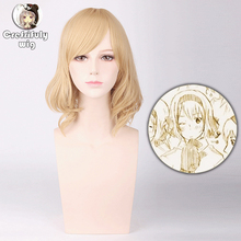 цена на High Quality Short Wavy Blonde Cosplay Wig Synthetic Hair Halloween Costume Party Wigs For Women