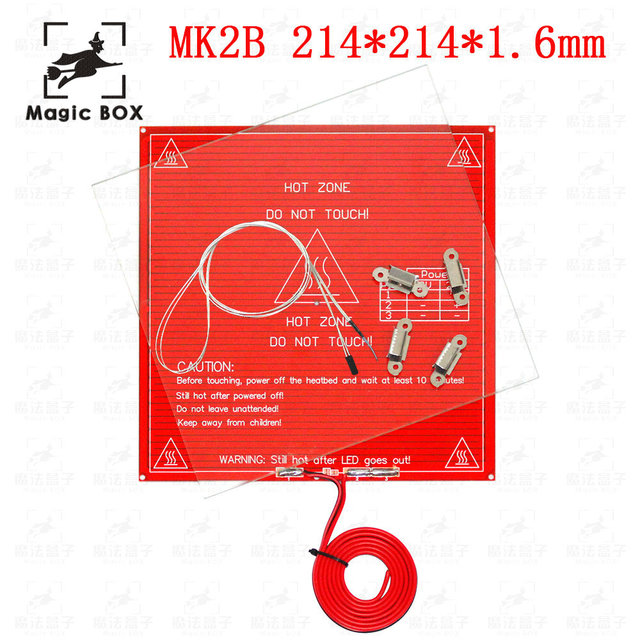 3D Printer Parts MK2B 214*214*1.6mm Heated+LED+Resistor+Cabel+100K ohm Thermistors PCB Heated Bed With