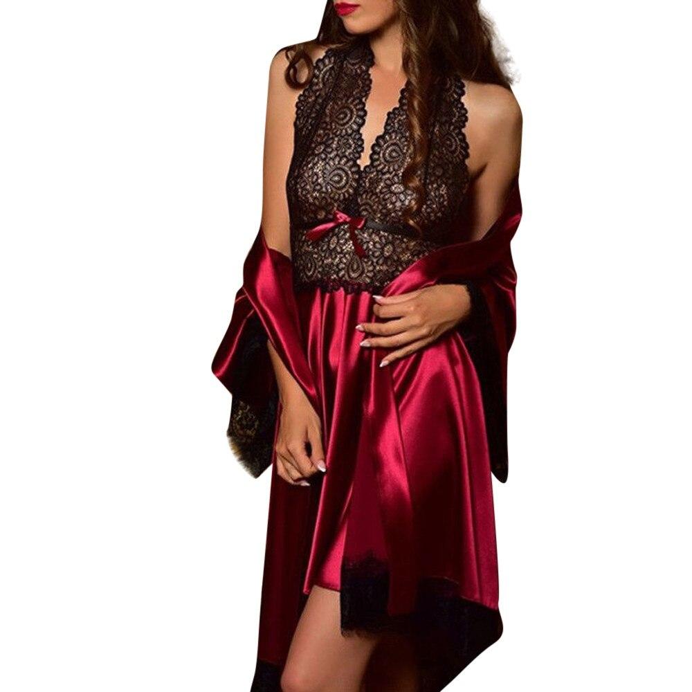 2019 2pcs Women Sexy Satin Lace Sleepwear Babydoll Lingerie Nightdress Pajamas Set lingerie pyjamas women lingerie Hot Sale 38