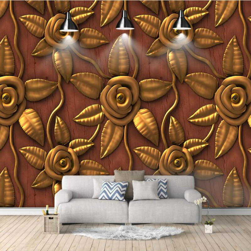 Vintage embossed golden rose Wallpaper for Walls 3d Wall Paper Background Painting Mural Wallpapers Home Improvement Decorate home improvement 3d wall paper rolls silk wallpaper for walls 3d tropical plant turtle shell back painted watercolor