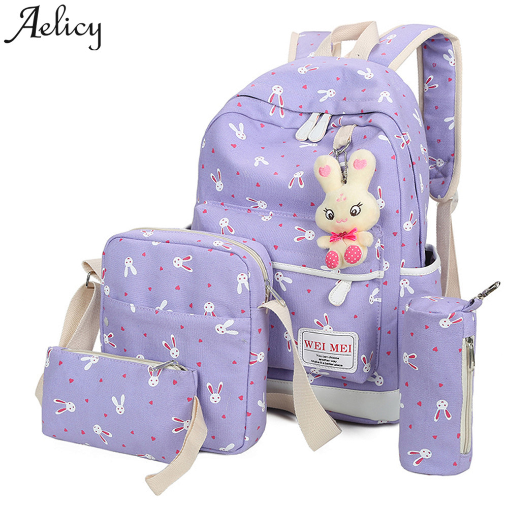 4 Sets Girl Rabbit Animals Travel Bags School Bag Shoulder Bag Handbag Canvas Bag