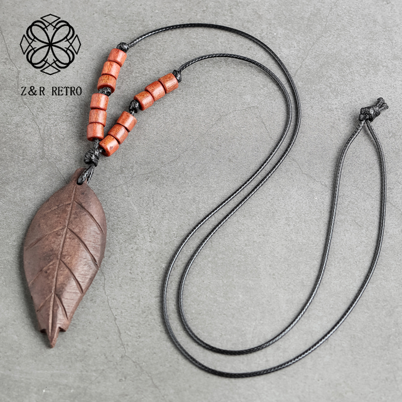 Wood Leaf Long Necklaces Women ewelry Accessory Bohemian Pendant for Valentine's Day Gift 2020 Chockers suspension jewellery