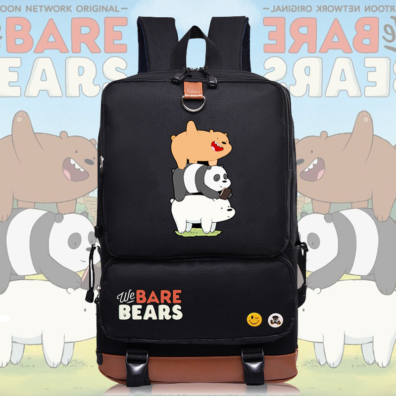 2017 New We Bare Bears Backpack School Bag Bookbags Rucksack Work Leisure Bag Anime Shoulder Laptop Travel bags anime tokyo ghoul cosplay anime shoulder bag male and female middle school student travel leisure backpack