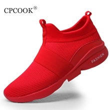 Man Footwear Sneakers Spring Autumn Plus Size Men Casual Shoes Krasovki Breathable Slip-On Fly Weave Red Male Mesh Shoes 39-46