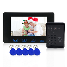 7Wired RFID Password Video Door Phone Doorbell Intercom System With IR Night Vision Monitor Doorbell+Keyfobs Unlock