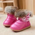 Nuevos Niños Botas de Bebé Niñas de Nieve de la Felpa Caliente Zapatos de Piel de Invierno Los Niños de Algodón de Moda Infantil Impermeable Botines de Cuero de LA PU