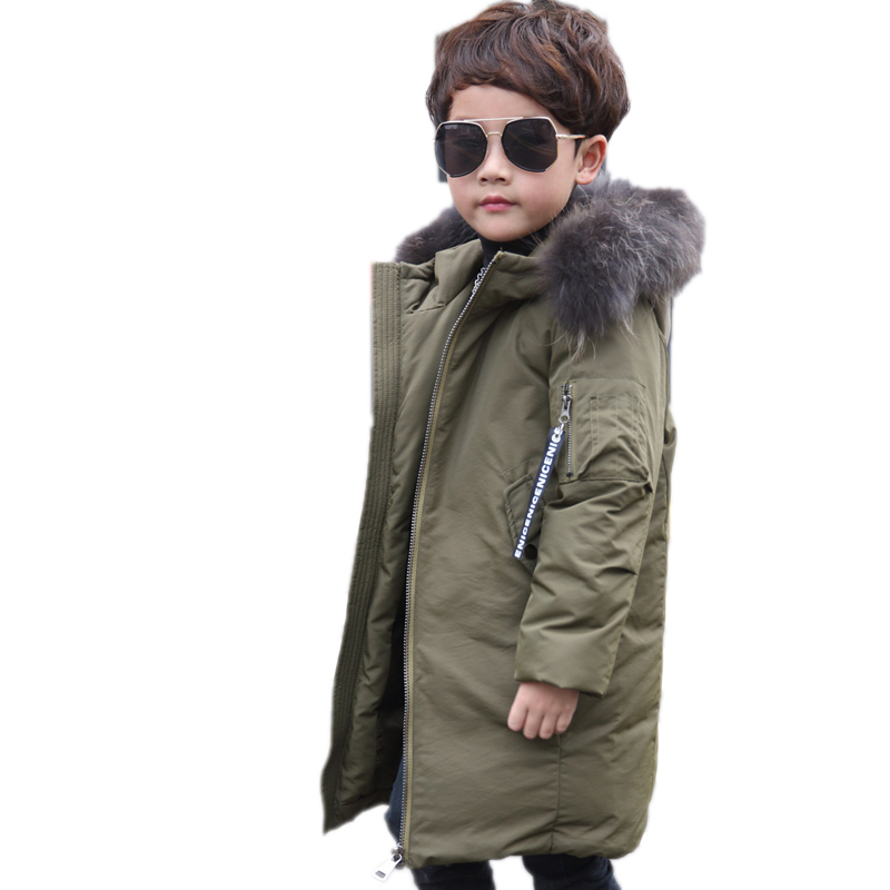 2018 Long Boys Down Jacket Real Raccoon Fur Hooded Boys Winter Jacket and Outerwear Letter Patchwork Children Boy Warm Down Coat
