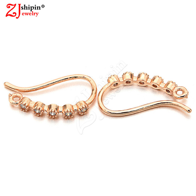 ZJSHIPIN new brass micro-inlaid zircon CZ earrings jewelry accessories suitable for DIY tassel ear hook jewelry making W9L16