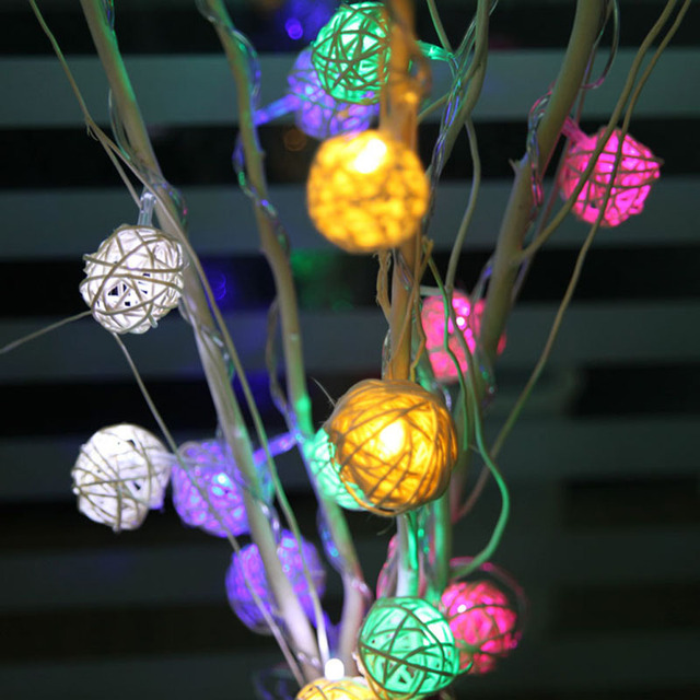 20 LED 9M Solar Rattan Ball LED String Fairy Lights For Christmas Xmas Holiday Lighting Wedding Party Decor RGB & Warm White