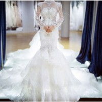 Luxury High Neck Crystal Beaded Long Sleeve Mermaid Wedding Dresses 2016 New Arrival Open Back Long