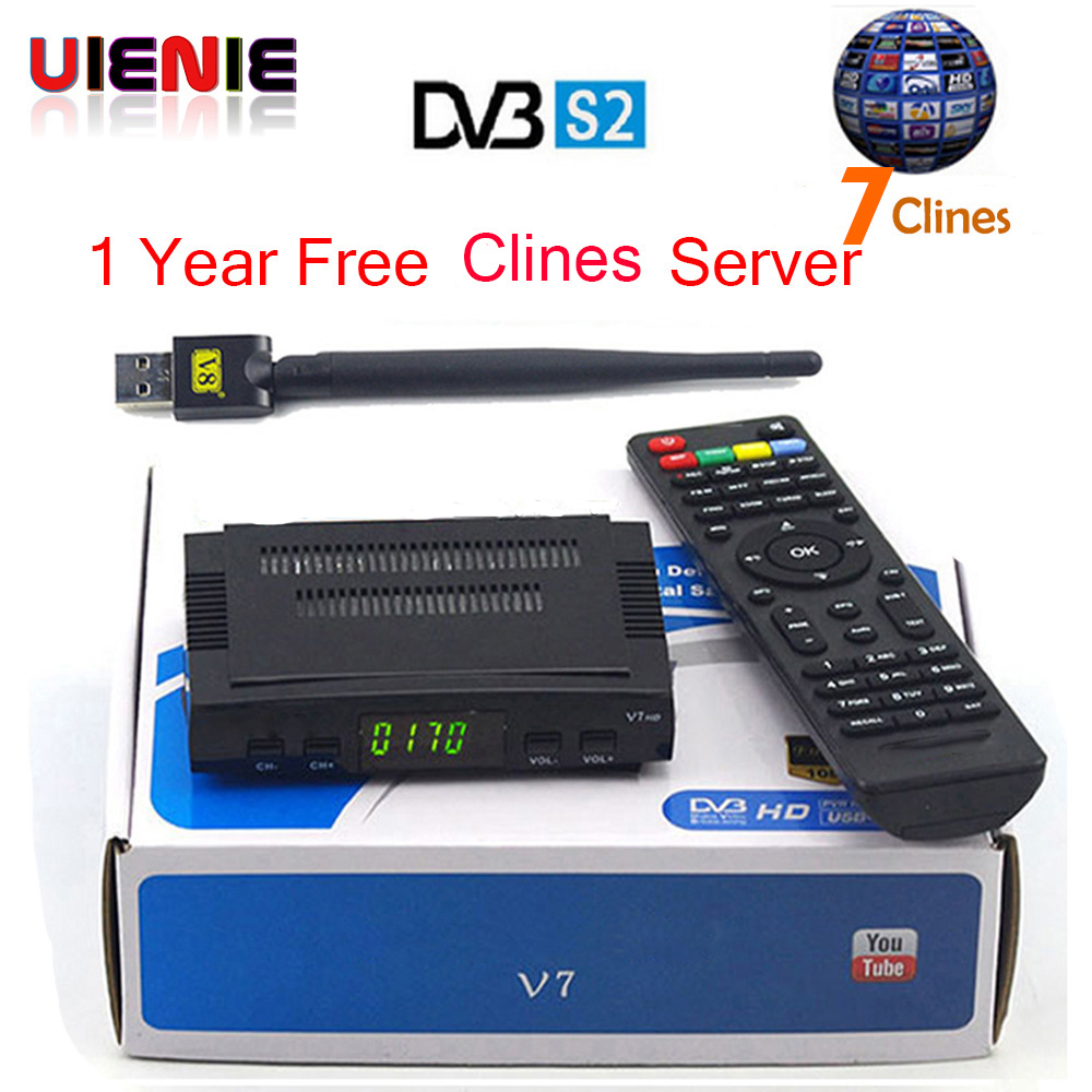 Satellite TV Receiver decoder V7 HD DVB-S2 + USB Wfi with 7 lines Europe C-line account support powervu Receptor