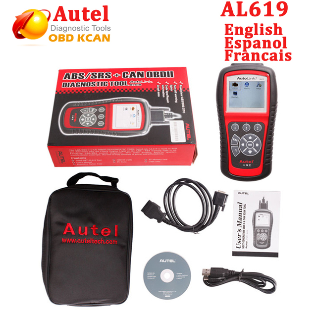 US $159 95 |Autel Autolink AL619 ABS SRS reset CAN OBDII Diagnostic Scan  Tool AL 619 Turn off Check Engine Light clears codes reset monitors-in Code