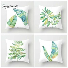 Fuwatacchi Simple Plant Style Cushion Cover Blue Pink Floral Leaves Printed Pillow Decorative Pillows For Sofa Car