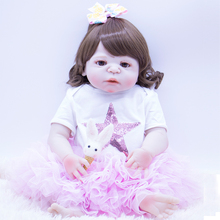 Full Body Silicone Reborn Baby Dolls Kid Playmates Realistic 57cm bebe Princess Doll Reborn Gift non-toxic bath toy 23 Inch 22 inch baby reborn doll toys full body soft silicone vinyl non toxic safe realistic bebe newborn doll toys best gift for girls