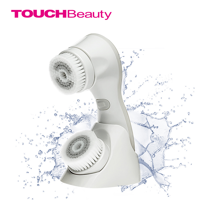 TOUCHBeauty Smart Rechargeable Dual Head Optical Facial Cleansing Brush with Inbuilt Sensor and Timer TB-1582 touchbeauty 2 in 1 electric sonic facial cleanser two optional working speeds face cleansing brush and powder puff tb 1289