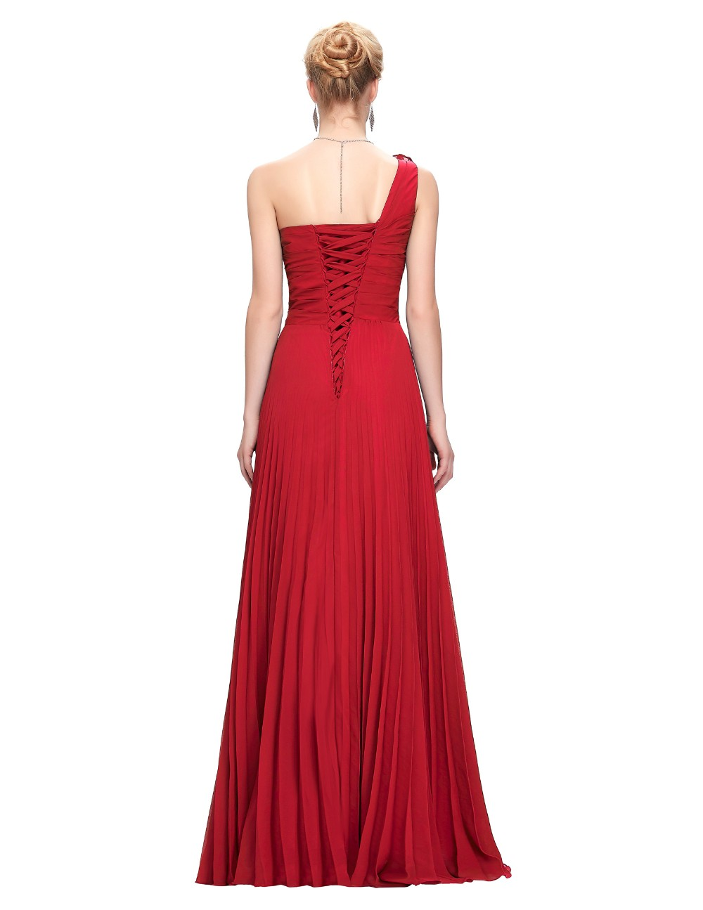 Grace Karin Chiffon Long Evening Dress One Shoulder Pleated Red Green Purple Royal Blue Formal Evening Dress Party Gowns 2018 13