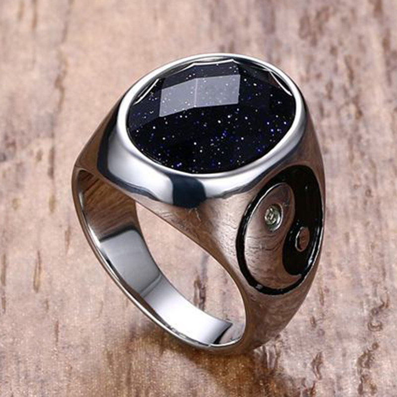 Mens Stainless Steel Ring Colorful Red Black White Brown Green Opal Stone Ring Yin Yang Punk Ring for Men