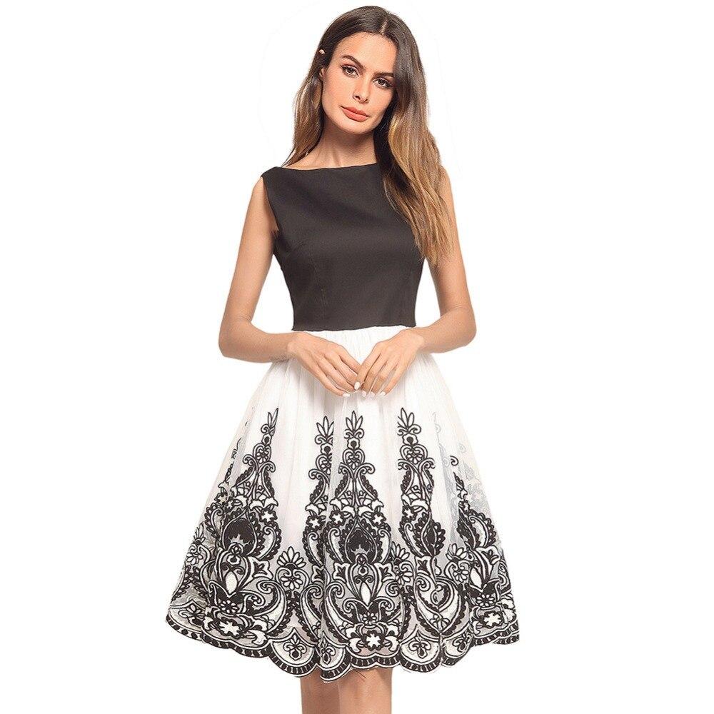 Conçu pour 2018 robe d'été nouveau style noir et blanc maille gaze dentelle gilet grande balançoire robe vente