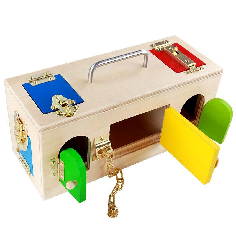 Matériel en bois Montessori pratique petite boîte de verrouillage enfants jouet éducatif précoce pour cultiver le cadeau d'intelligence de l'enfant
