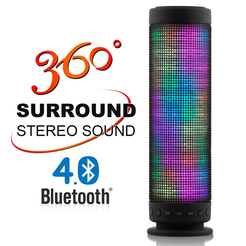 Portable Dance Speaker LED Bluetooth Speaker 360 Degree Stereo Surround Bluetooth Mini Speaker 800709  360 degree dc 5v usb surround stereo bluetooth speaker portable rechargeable wireless led lights sound speaker for smartphone