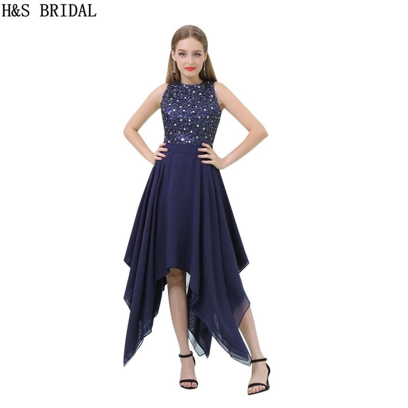 4d3afaeac H   S nupcial tobillo longitud azul marino corto Fiesta Vestidos de Noche  vestido de noche de gasa Crystal noche robe de mariee en Vestidos de noche  de ...