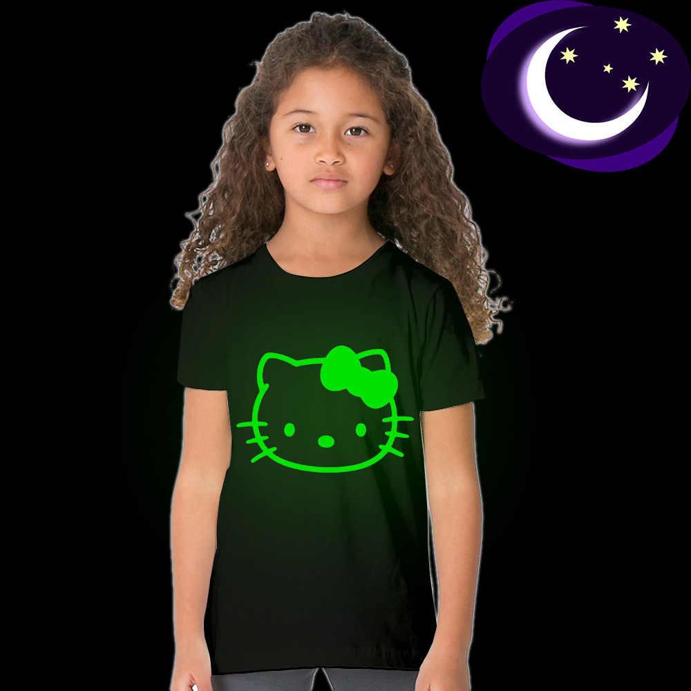 2-10 שנות ילדי ילדה קיץ קצר שרוול מזדמן זוהר הלו קיטי זוהר בחושך T חולצה למעלה טי בגדי מתנה