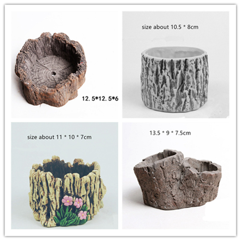 Tree Root Bark Flowerpot Molds For Concrete Flower Pot Vase Silicone Mold Creative Gardening Decorating Cement Planter Mould